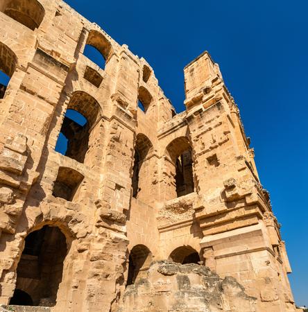 Amphitheatre of El Jem, a UNESCO world heritage site in Tunisia Stock Photo