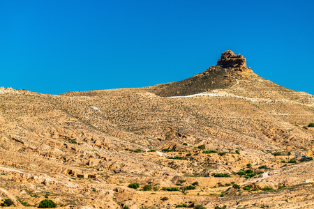 Typical Tunisian landscape in the Medenine Governorate. North Africa Stock Photo