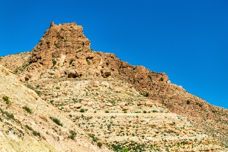Landscape at Toujane, a Berber mountain village in southern Tunisia. North Africa