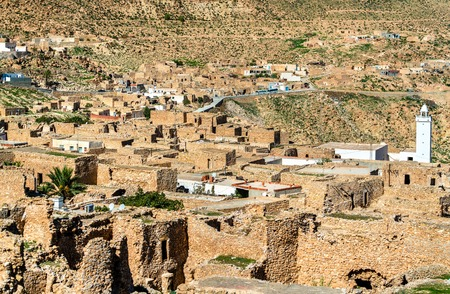 View of Toujane, a Berber mountain village in southern Tunisia. North Africa Stock Photo
