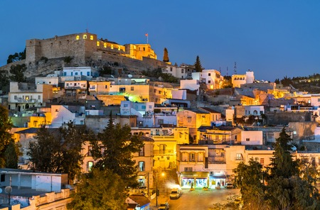 Night skyline of El Kef, a city in northwestern Tunisia
