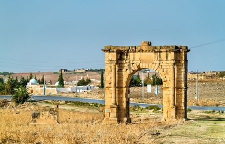 Ancient Roman Triumphal Arch in the Tunisian countryside near Dougga and Al Karib