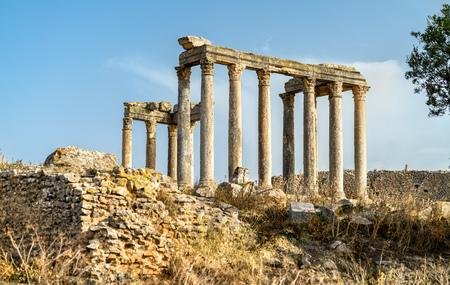 Temple of Juno Caelestis at Dougga, an ancient Roman town in Tunisia Stock Photo