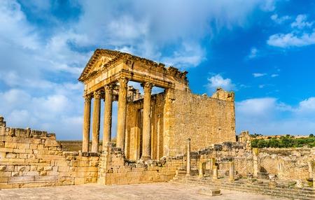 The Roman Capitol at Dougga. UNESCO heritage site in Tunisia
