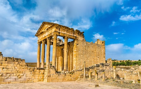 The Roman Capitol at Dougga. UNESCO heritage site in Tunisia