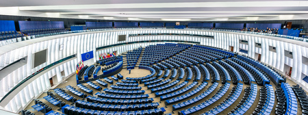 Plenary hall of the European Parliament in Strasbourg, France 新聞圖片