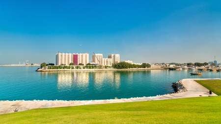View of Flour Mills in Doha, the capital of Qatar. Stock Photo