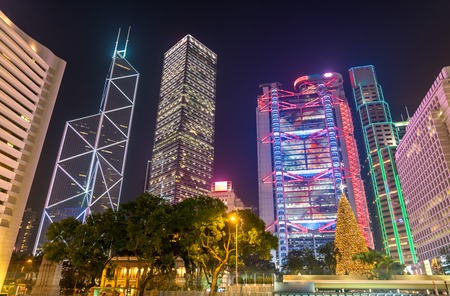 Buildings around Statue Square in Hong Kong at night