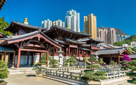 Chi Lin Nunnery, a large Buddhist temple complex in Hong Kong, China Imagens