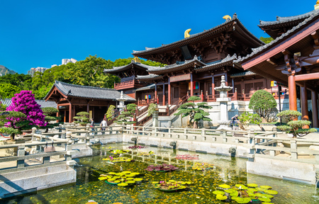 Chi Lin Nunnery, a large Buddhist temple complex in Hong Kong, China 写真素材