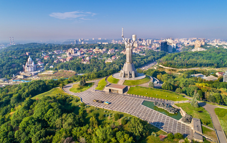 Aerial view of the Motherland Monument and the Second World War Museum in Kiev, Ukraine 写真素材