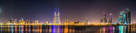 Skyline of Manama dominated by the World Trade Center Building. Bahrain Stock Photo