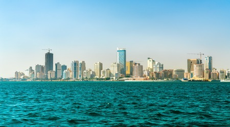 Skyline of Manama from the Persian Gulf. The Kingdom of Bahrain