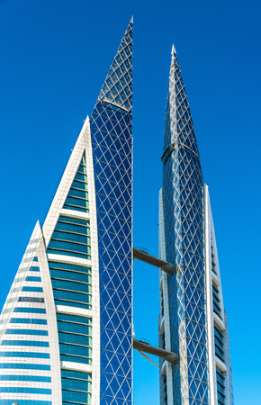 Bahrain World Trade Center in Manama. The Middle East Stock Photo