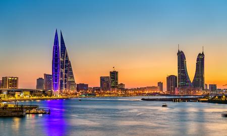 Skyline of Manama at sunset. The Kingdom of Bahrain