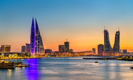Skyline of Manama at sunset. The Kingdom of Bahrain