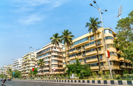 Buildings on Marine Drive in Mumbai, India