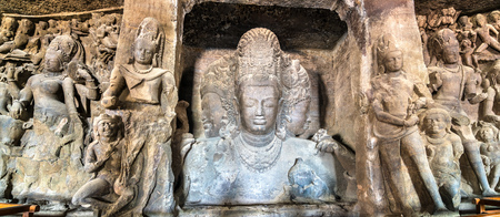 Trimurti Sadashiva sculpture in the cave 1 on Elephanta Island. Mumbai, India