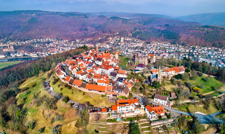 Aerial view of Dilsberg, a town with a castle on the top of a hill surrounded by a Neckar river loop. Germany Stock Photo