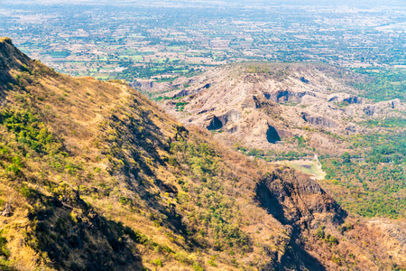 Landscape of Champaner-Pavagadh heritage site from Pavagadh Hill. Gujarat, Western India