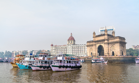 Ferries near the Gateway of India in Mumbai, India