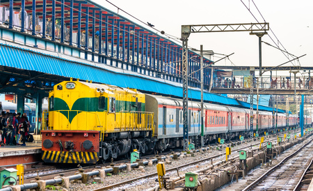 Passenger Train at New Delhi Railway Station. India Stock Photo
