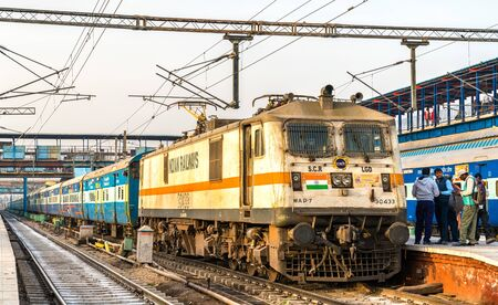Passenger Train at New Delhi Railway Station. India Editorial