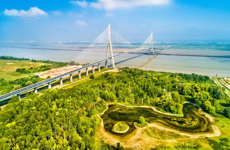The Pont de Normandie, a road bridge across the Seine linking Le Havre to Honfleur in Normandy, France