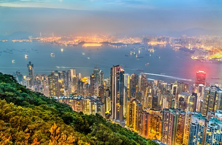 Panorama of Hong Kong Island in the evening, China Stock Photo