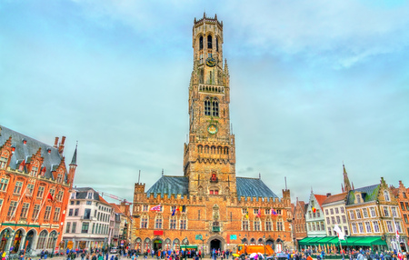 The Belfry of Bruges, a medieval bell tower in Belgium