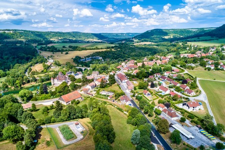 Aerial view of Cleron, a village in France famous for its castle Stock Photo