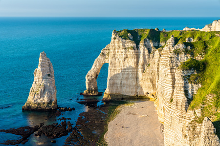 Natural chalk arch at Etretat, France