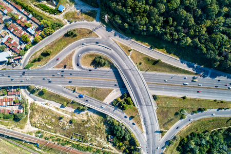 Trumpet traffic interchange in Kiev, Ukraine