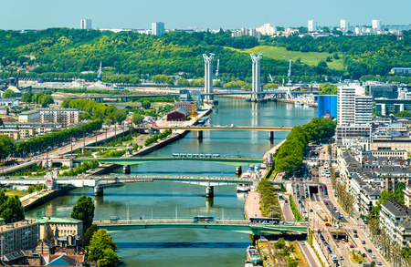 View of the Seine River in Rouen, France