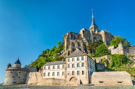 View of Mont-Saint-Michel, a famous abbey in Normandy, France