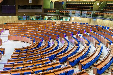 The Hemicycle of the Parliamentary Assembly of the Council of Europe, PACE. The CoE is an organisation whose aim is to uphold human rights, democracy and the rule of law in Europe