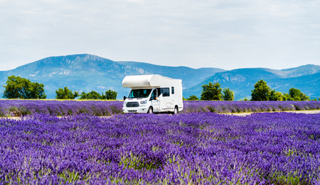 Motorhome in a lavender field in Provence, France