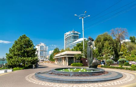Rostovite girl fountain in Rostov-on-Don, Russia 스톡 콘텐츠