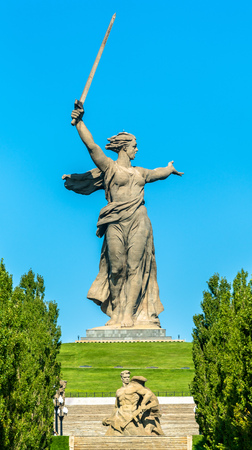 The Motherland Calls, a colossal statue on Mamayev Kurgan in Volgograd, Russia