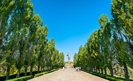 Poplar alley leading towards the Motherland Calls statue on Mamayev Kurgan in Volgograd, Russia