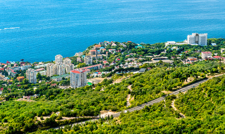 Aerial view of Foros, a town by the Black Sea in Crimea