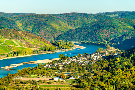The great loop of the Rhine at Boppard in Germany