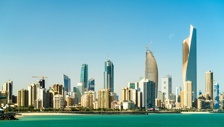 Panorama of Kuwait City in the Persian Gulf Фото со стока