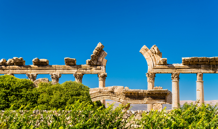 Ruins of Bustan al-Khan at Baalbek, Lebanon Stock Photo