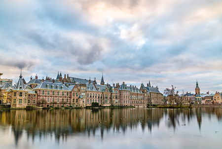 Binnenhof Palace at the Hofvijver lake in the Hague, the Netherlands