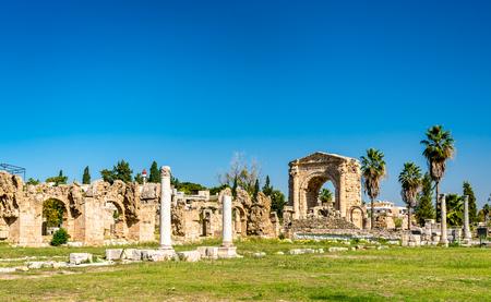 Roman Aqueduct in Tyre, Lebanon Stock Photo