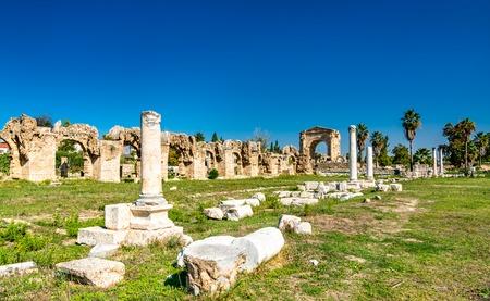 Roman Aqueduct in Tyre, Lebanon Фото со стока