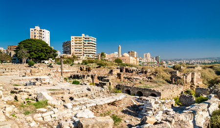 Al Mina archaeological site in Tyre, Lebanon Banco de Imagens