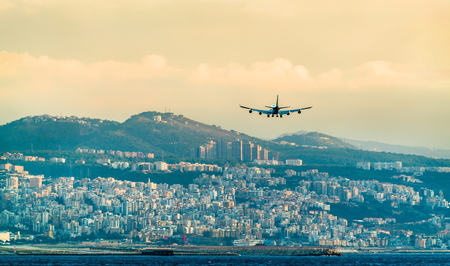 Airplane on final approach to Beirut International Airport, Lebanon