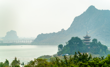 Landscape of the Bai Dinh temple complex at Trang An, Vietnam
